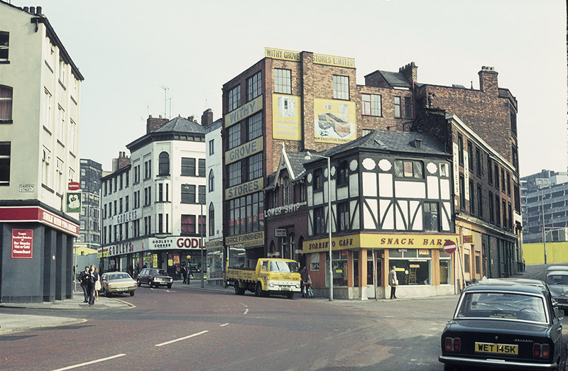 Withy Grove, Manchester, looking towards Shude Hill, around 1972.