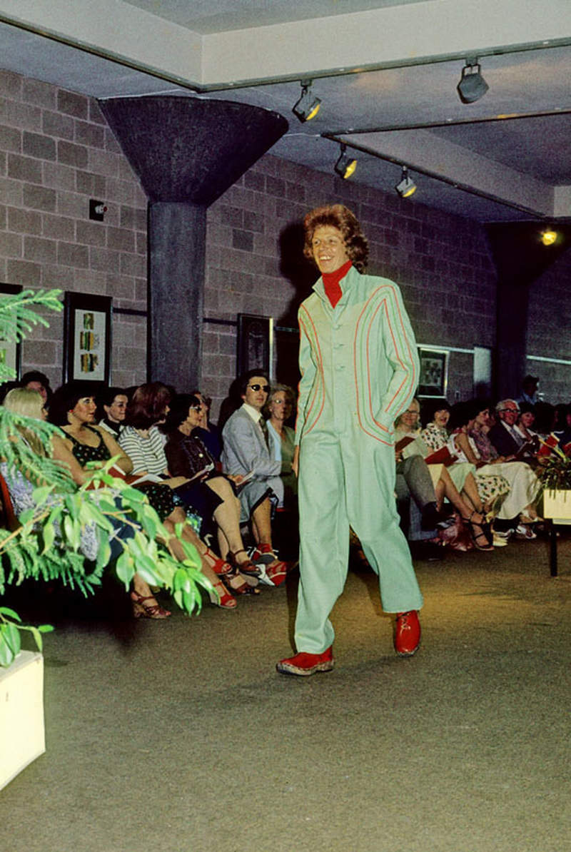 The work of a Manchester Polytechnic fashion student modelled at the Fashion Show in the Undercroft Gallery, June 1976.