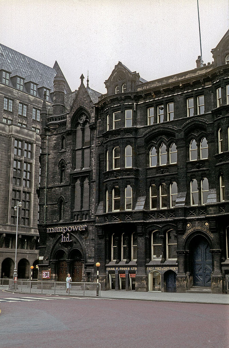 St Andrew's Chambers and Bridgewater Buildings on Lloyd Street, on the south side of Albert Square, photographed around 1970.