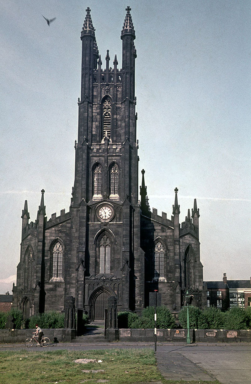 The west front of St George's church on Chester Road, Hulme, around 1970