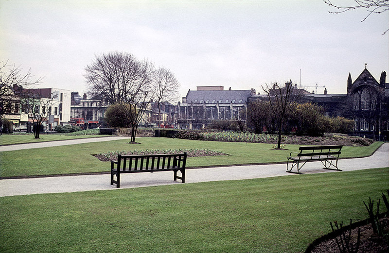 Grosvenor Square (All Saints Park), looking east towards Oxford Road, about 1970.