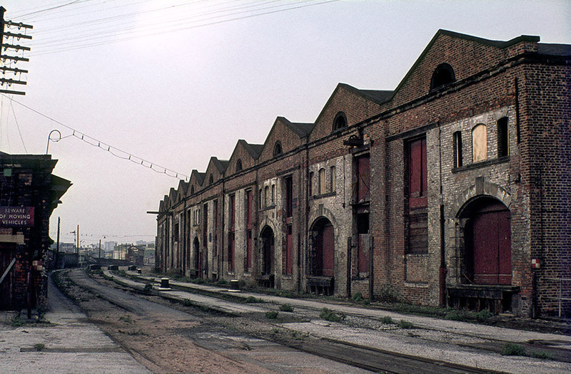 View of the Liverpool Road railway station site in Manchester, shortly after its closure in 1975.