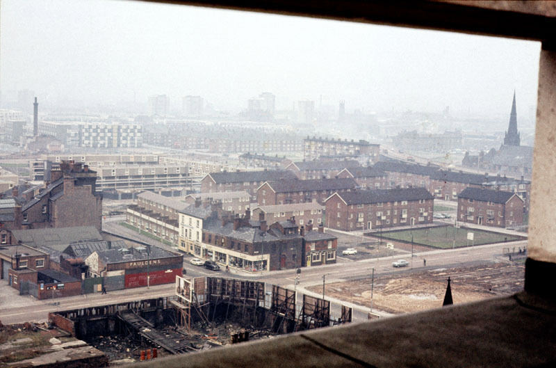View across the northern part of Hulme from the top of the Chatham Building in November 1970