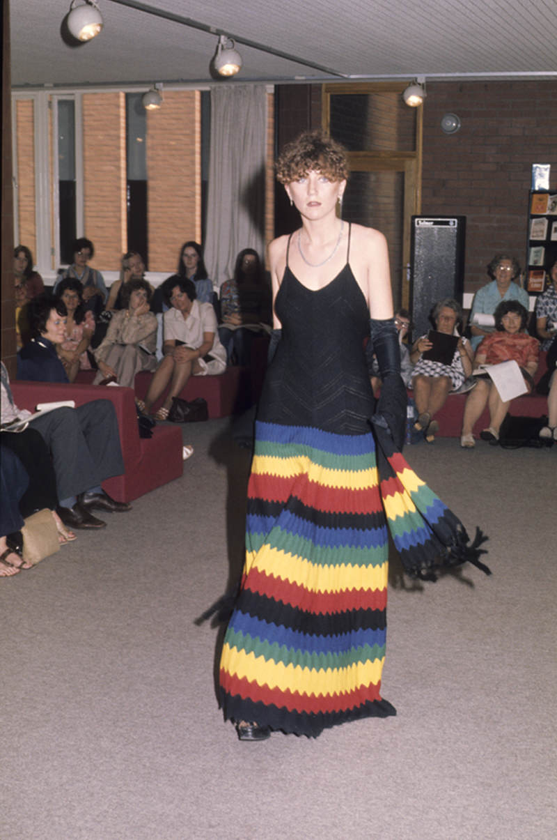 Model displaying student work at the dress show at Manchester Polytechnic's Faculty of Art and Design in 1975.