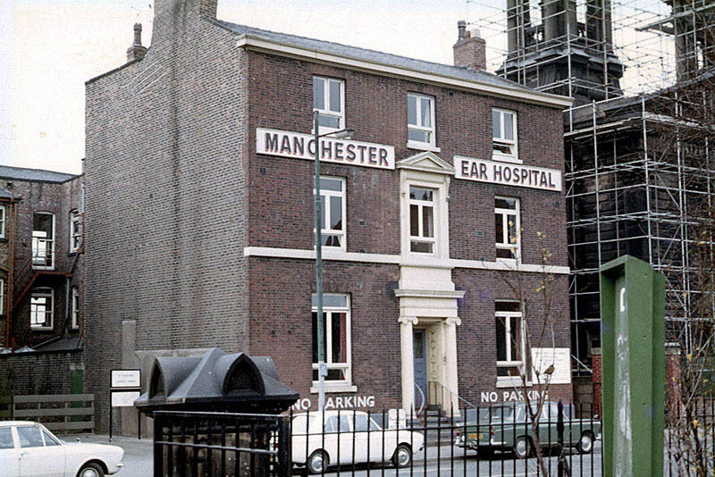 The Manchester Ear Hospital on Lower Ormond Street, photographed in 1972-3, shortly before being transferrred to Manchester Royal Infirmary