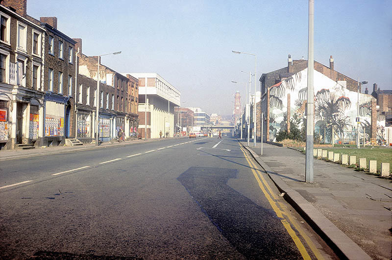 View north along Oxford Road at All Saints, looking towards Manchester City Centre, 1976.