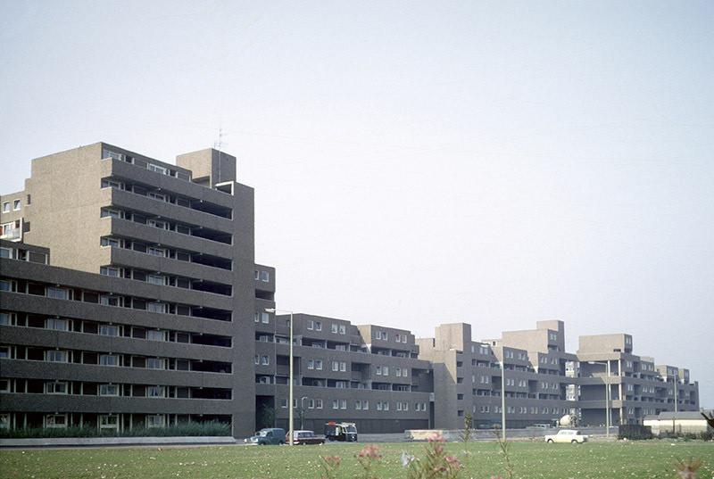 Deck access flats and maisonettes built using the Bison wall frame system, on Coverdale Crescent, Ardwick, 1970. Known locally as 'Fort Ardwick'.
