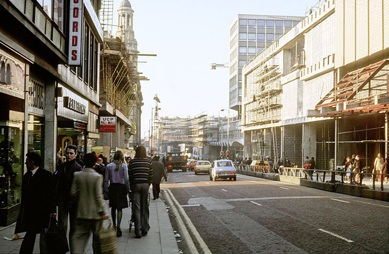 View along Market Street towards St Mary's Gate and Deansgate in 1975, during construction of the Arndale Centre (right).