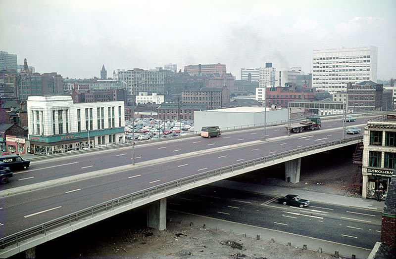 The elevated section of the Mancunian Way, crossing Oxford Road. Taken from the Cavendish School at All Saints, c. 1970.