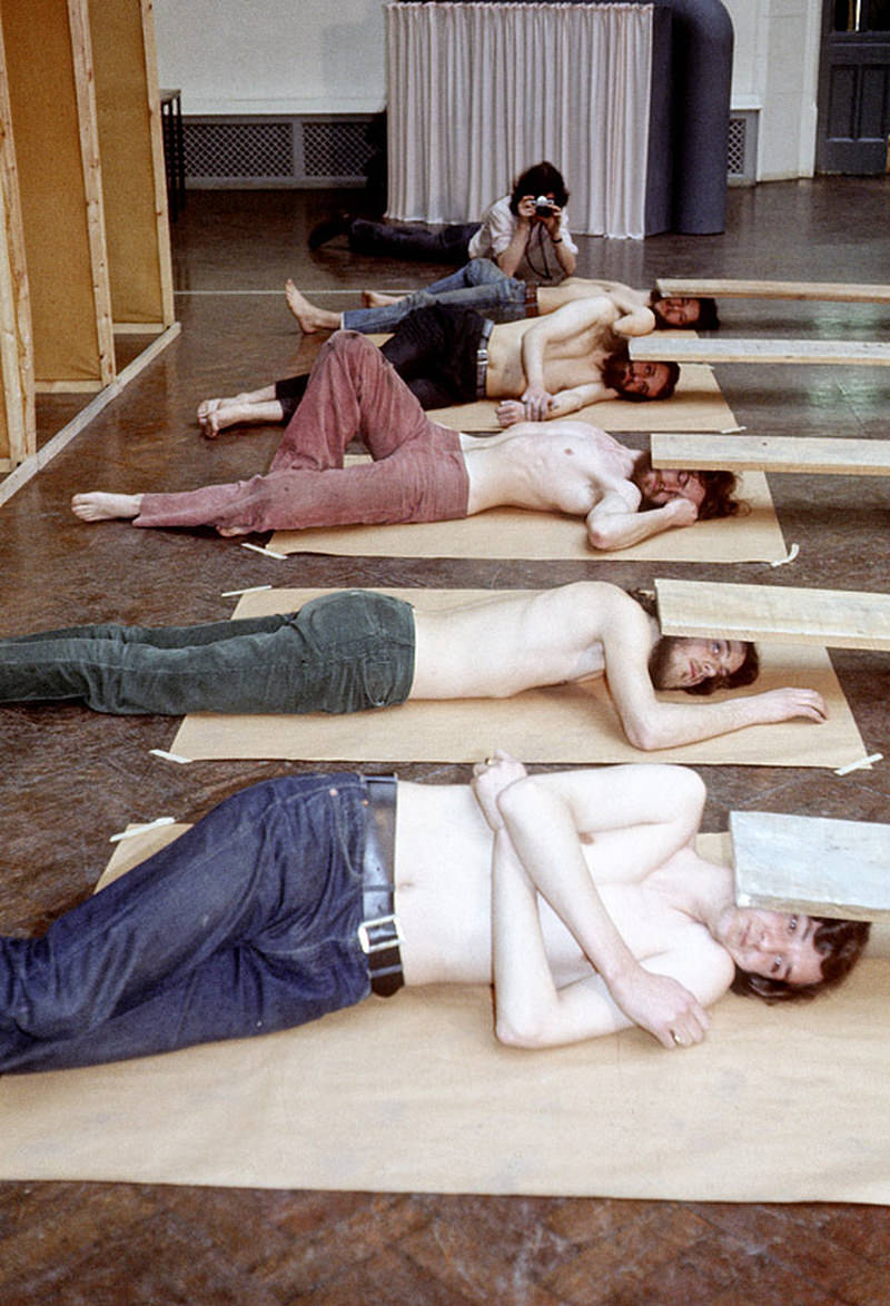 Post-graduate sculpture students take part in a performance entitled 'Murphy' in the gallery of Manchester Polytechnic's Faculty of Art and Design in March 1971.
