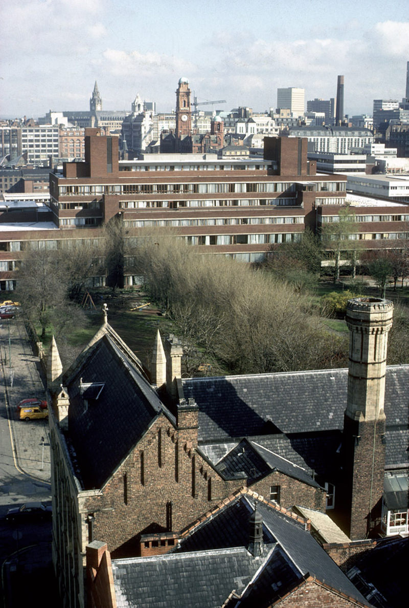 View north towards Manchester city centre from the Chatham tower in March 1979.