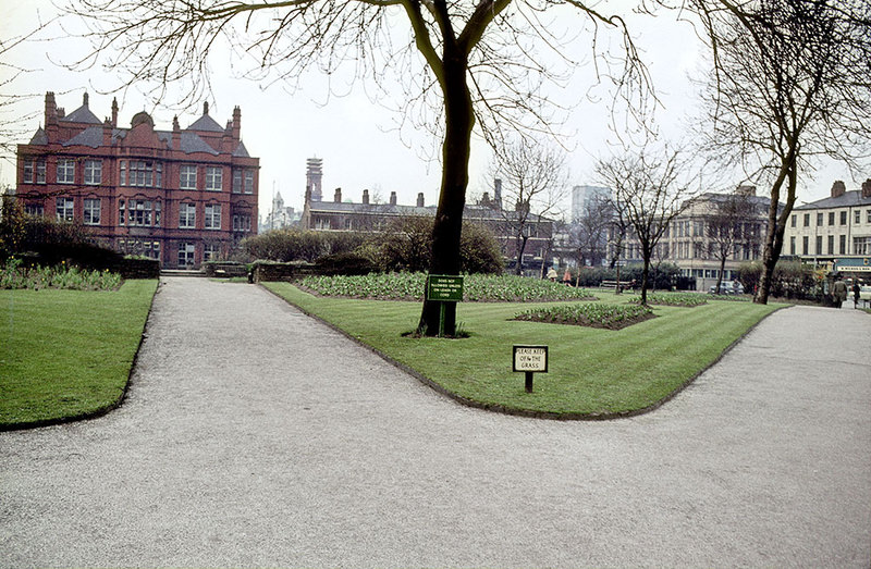 Grosvenor Square (All Saints Park), looking north towards the Cavendish School (the site of the current All Saints Building), about 1970.