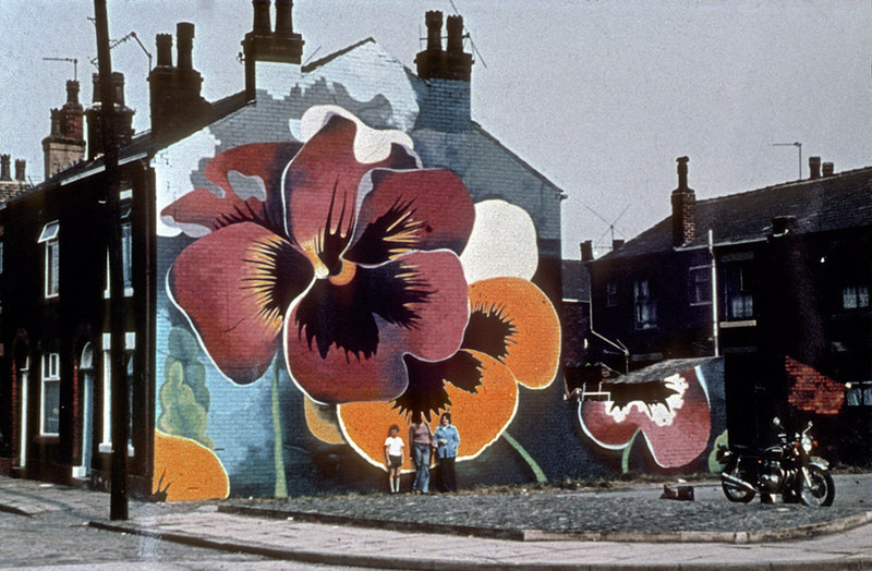 Mural depicting pansies on the gable-end wall of terraced houses in Rochdale. Painted by Walter Kershaw in the early 1970s.