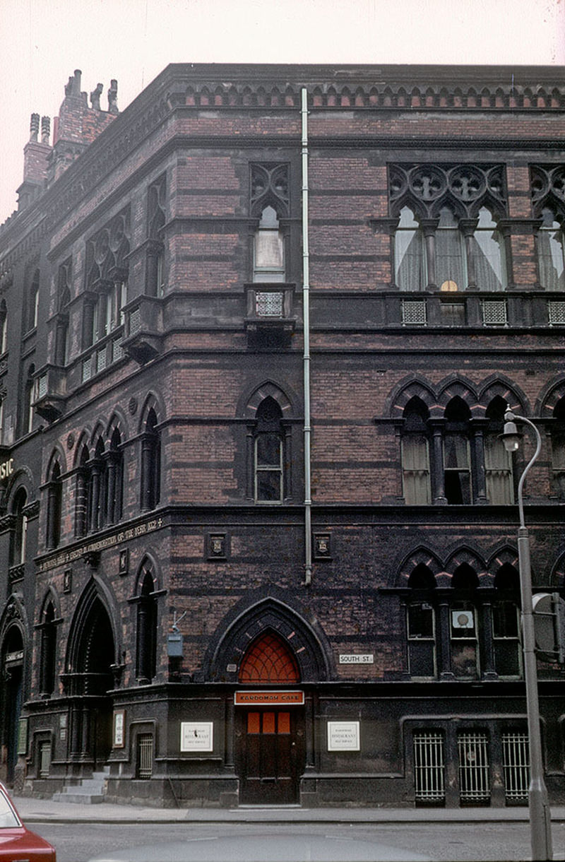 The Memorial Hall, on the south west corner of Albert Square. Designed by Thomas Worthington and built in 1863-66. This photo was taken, around 1970