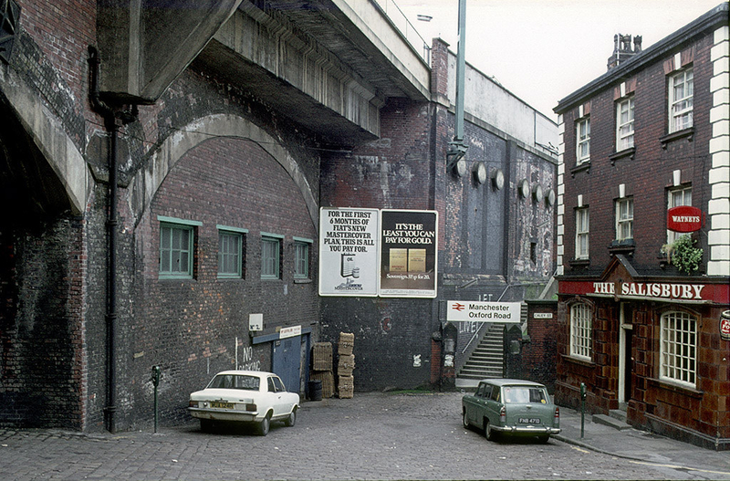 View of Wakefield Street towards Oxford Road Station and The Salisbury pub, around 1974.