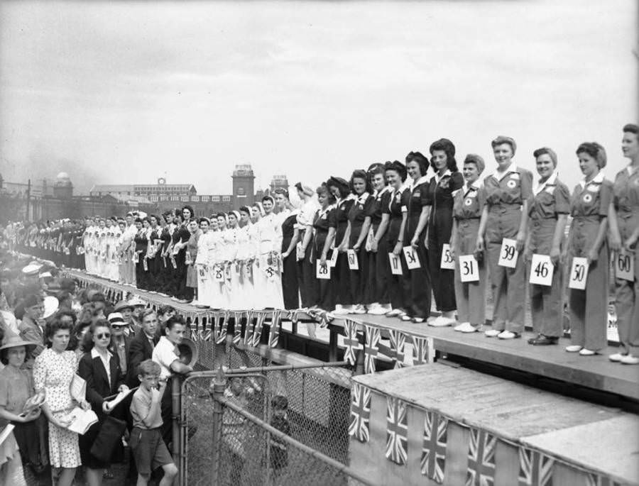 Participants line up during the Miss War Worker Beauty Contest in Toronto, Canada, 1942