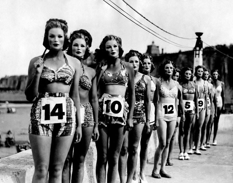 A perfect figure contest. Competitors wore facial masks so that the judges could see only the contestants' bodies, 1947.