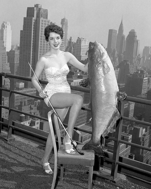 Gail Hooper, 18, from Memphis, Tennessee, selected as Miss National Catfish Queen, holds a 56-pound catfish at the Hotel New Yorker, 1954.