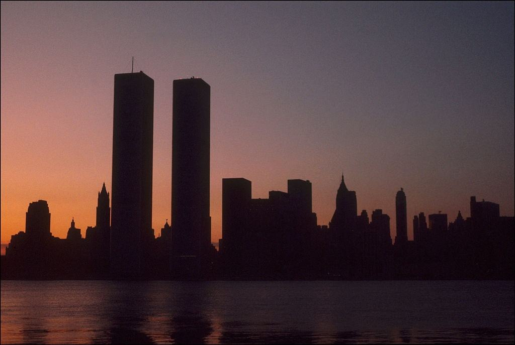 The twin towers of the World Trade Center on the first morning of the power blackout of July 1977