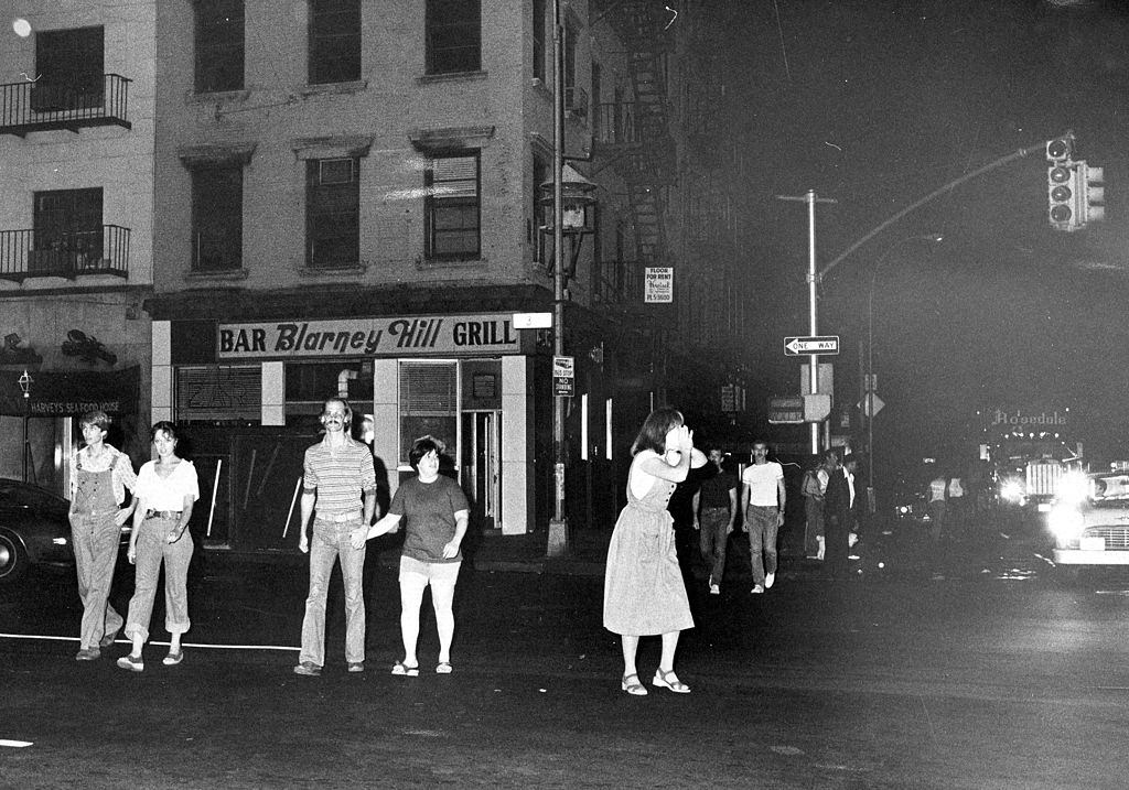 View of 34th St. in New York City during power outage, New York City, July 13, 1977.