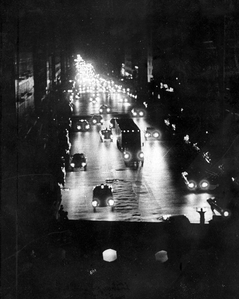 View of 59th St. in New York City during power outage, New York City, July 13, 1977.