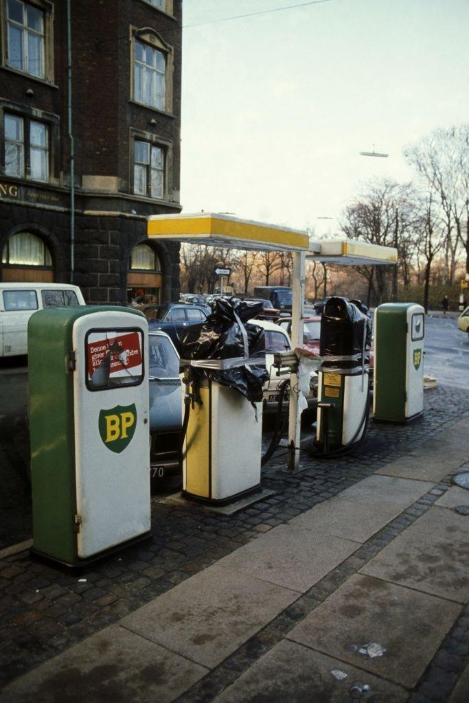 Gas station during oil crisis, in December 1973 in Denmark.