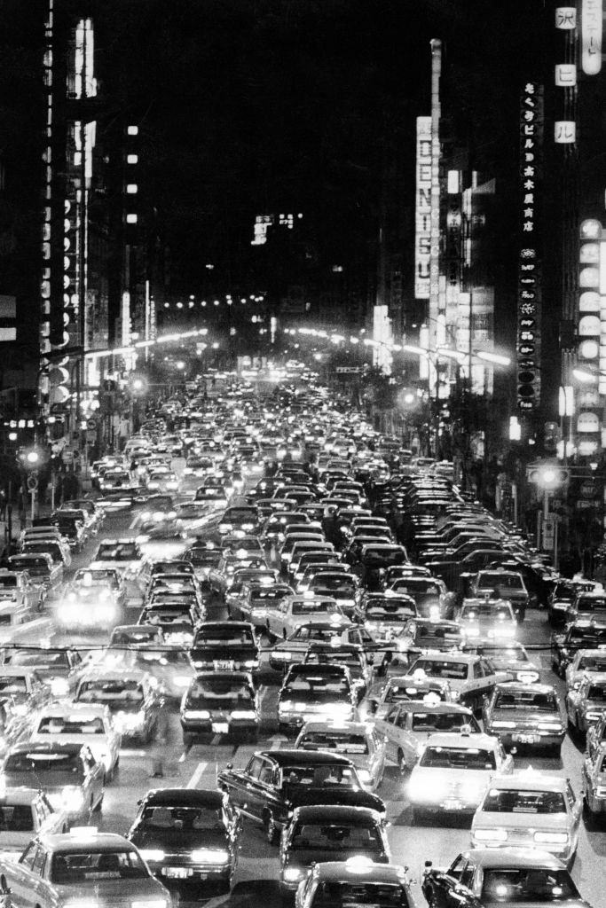 Taxis are seen amid the oil crisis at Ginza District on November 22, 1973 in Tokyo, Japan.