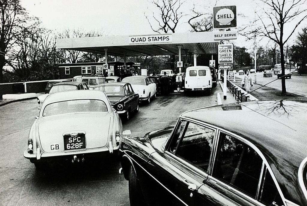 Motorists queue for petrol during the oil crisis, Great Britain, 1973.