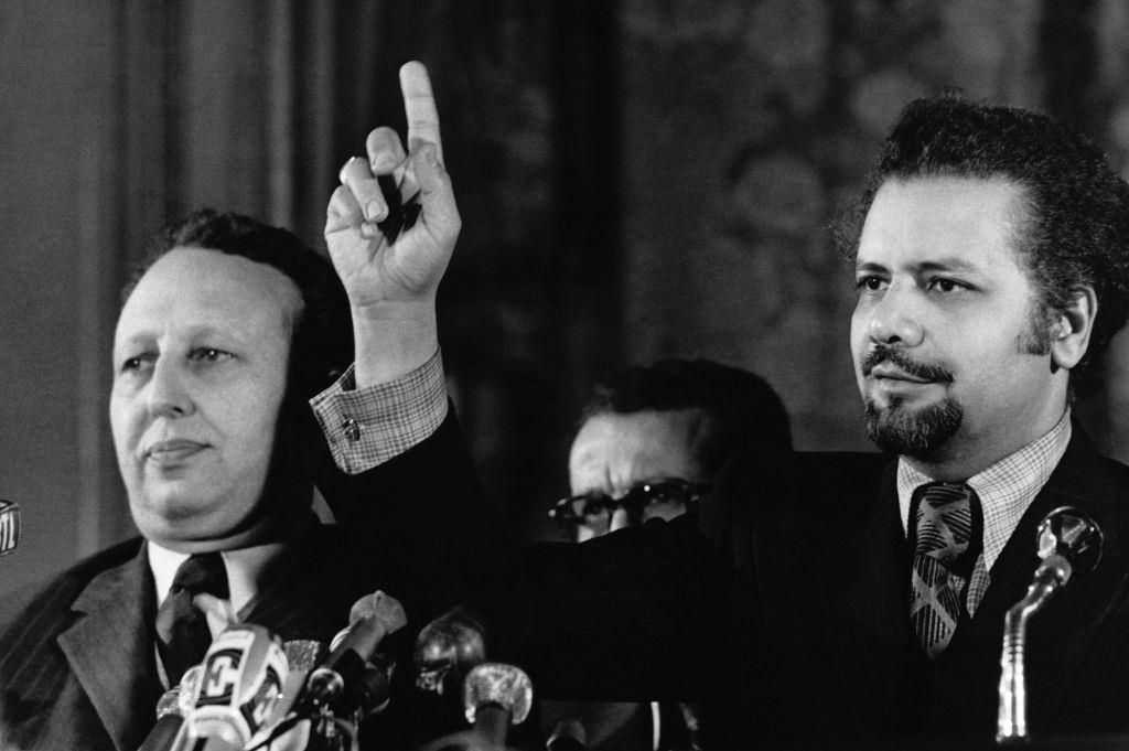 Press conference by Bélaïd Abdessalam, Algerian Minister for Energy, and Ahmed Zaki Yamani, Saudi Minister for Petroleum, during the oil shock, in Paris, France, November 27, 1973