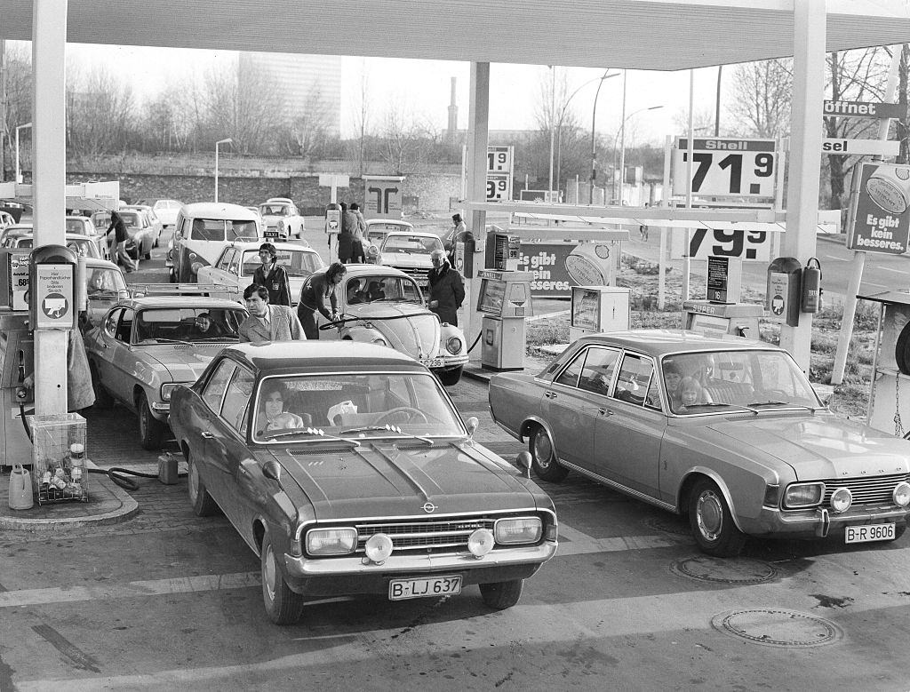 Crowds at a gas station in Berlin during the Oil Crisis, 1973.