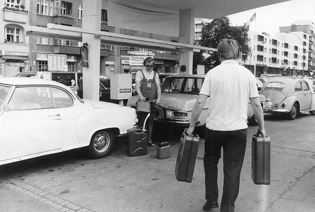 Gasoline hamster purchases at petrol station in Berlin, July 1973.