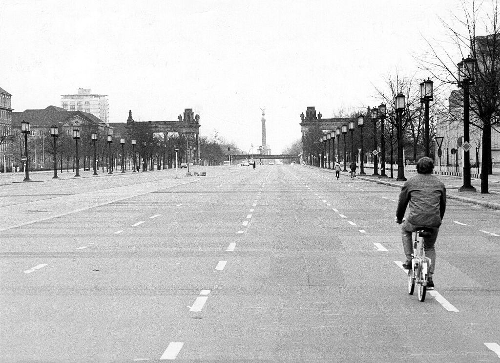 Empty Roads of Berlin during oil crisis.