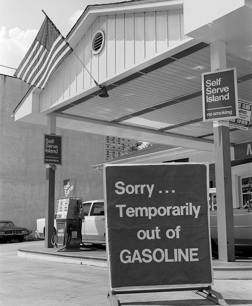 Temporarily out of gasoline sign in American, 1973.