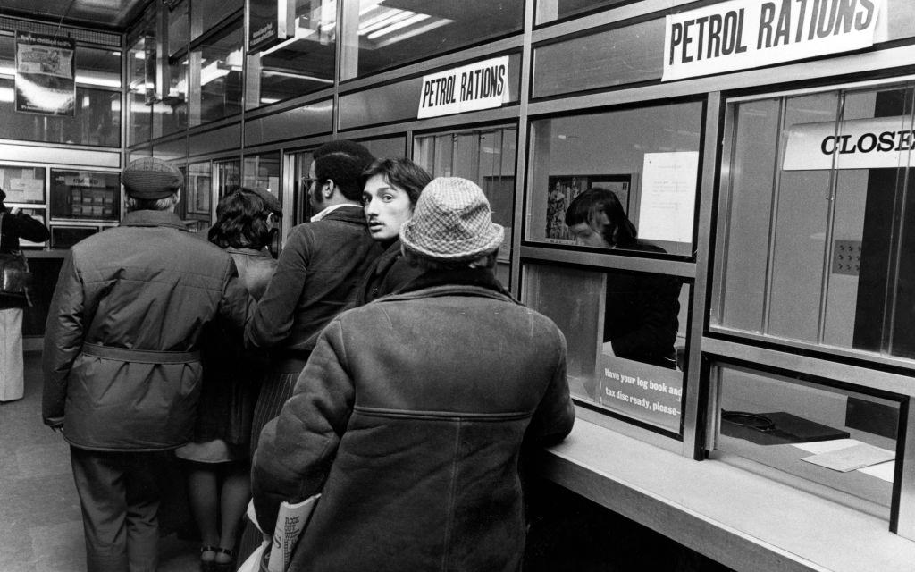 Queues in Hanover Street Post Office, Liverpool, for petrol coupons, 29th November 1973.