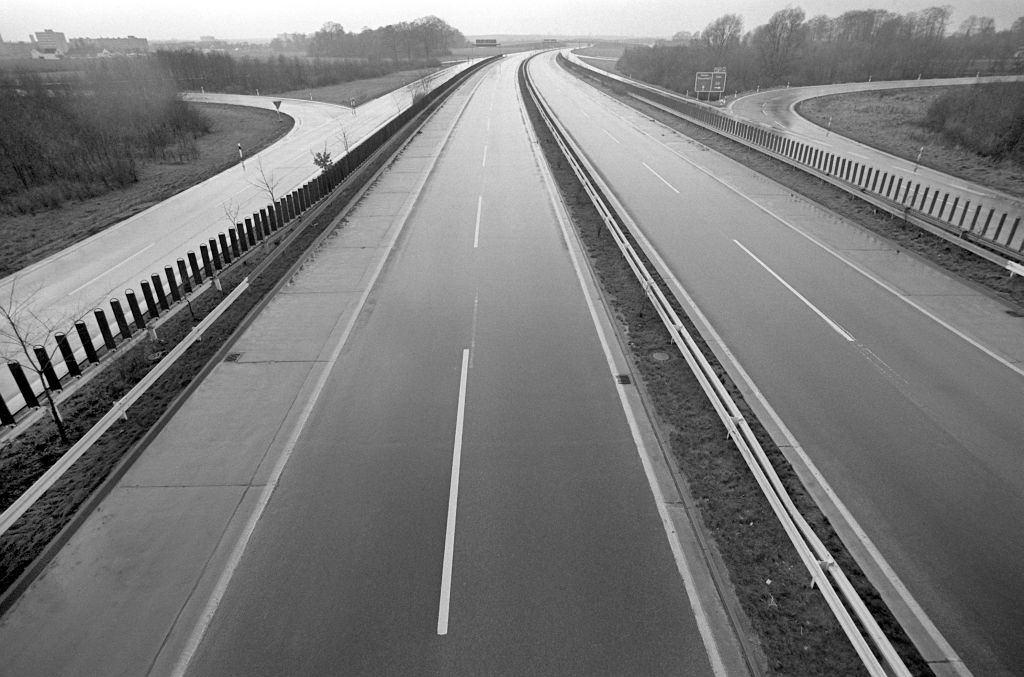 Empty motorway at Duesseldorf on 25th of November in 1973.