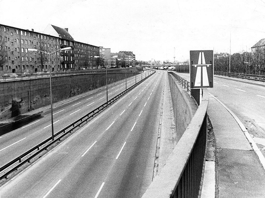 Empty streets and roads, Stadtautobahn Berlin, during the oil Crisis, 1973.