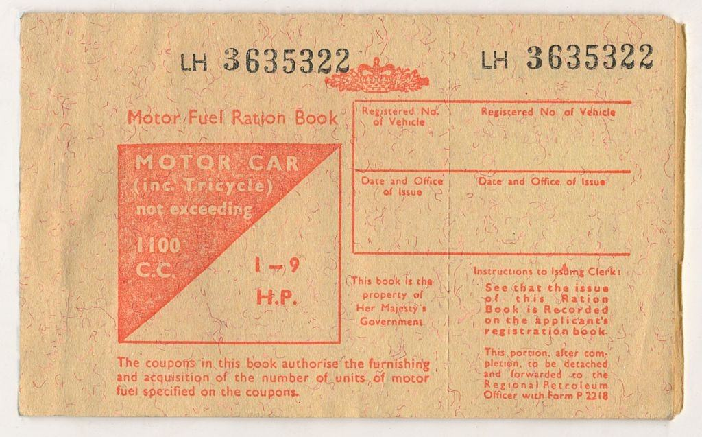 A fuel ration book of the like issued by the British government to combat petrol shortages during the 1973 Oil Crisis.