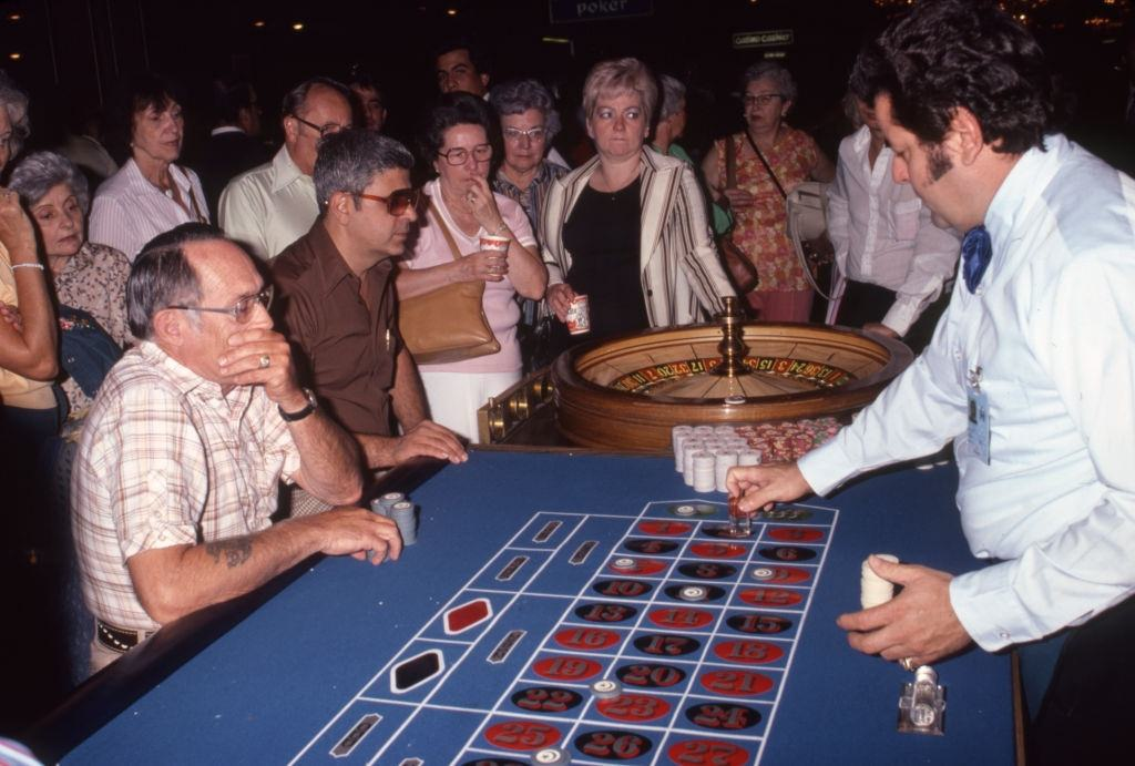 Players at a roulette table in a Las Vegas casino on October 2, 1980.