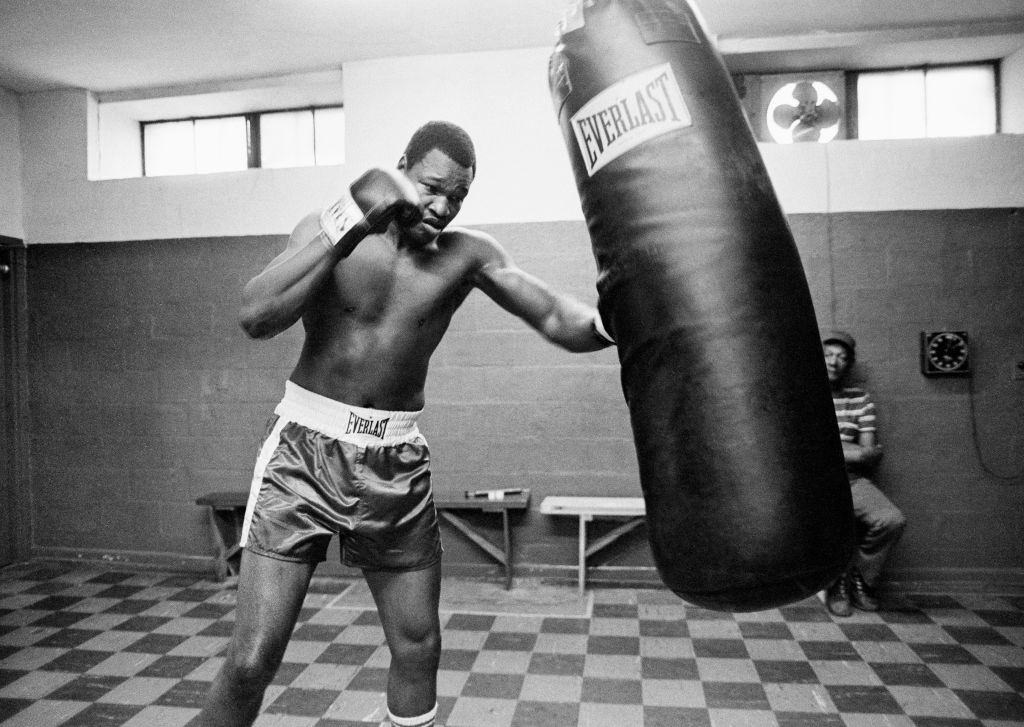 American Heavyweight Boxer Larry Holmes during a training session in Las Vegas, circa 1980