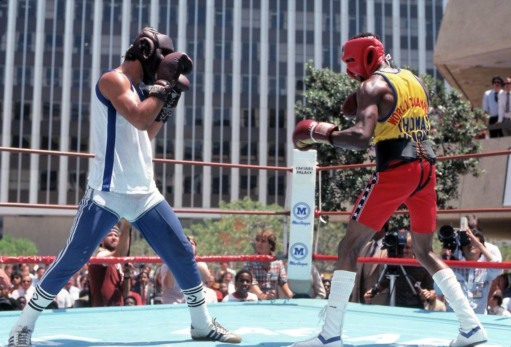 Thomas Hearns sparing, Las Vegas, 1981.