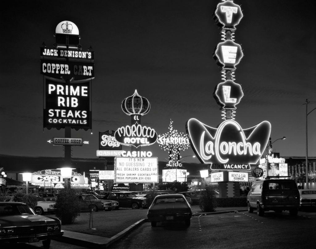 Neon Lights on the strip for Morocco LA Concha Stardust in Las Vegas, 1980s.