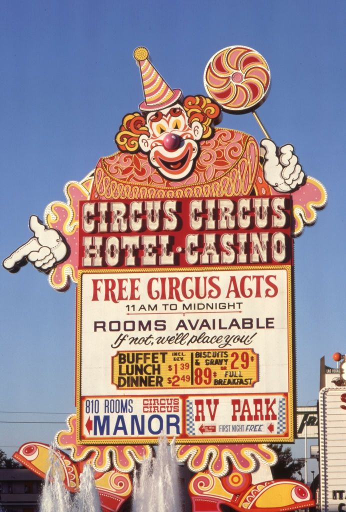 Sign of a Las Vegas casino depicting a clown in 1980.