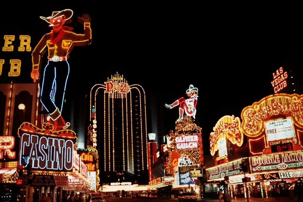 "Night scene with neon sign of the casinos on the ""Strip"", the main thoroughfare in Las Vegas, June 1981."