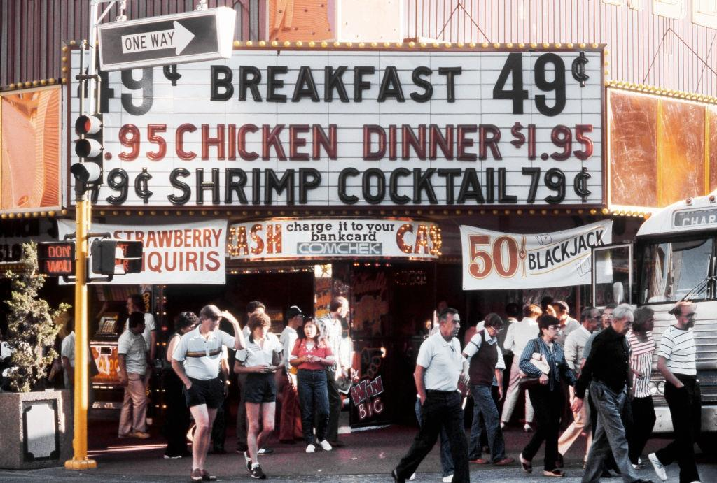 A view of a street level casino offering a cheap breakfast, dinner and shrimp cocktail on the Las Vegas Strip, 1983.