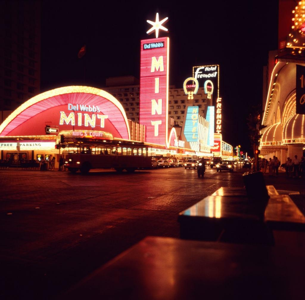 Del Webb's Mint Hotel-Casino at the Las Vegas, 1980s.