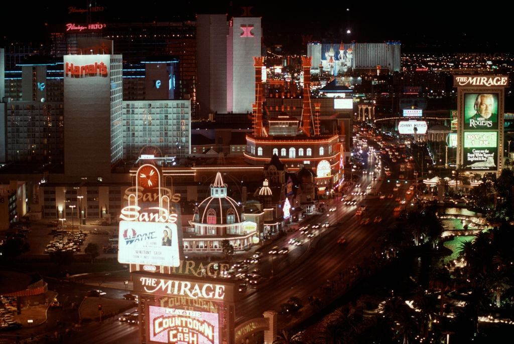 View of the Strip at night in Las Vegas, 1984.