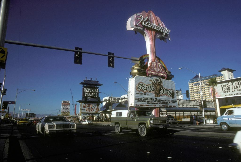 Flamingo Hilton neon sign in October 1980 in Las Vegas