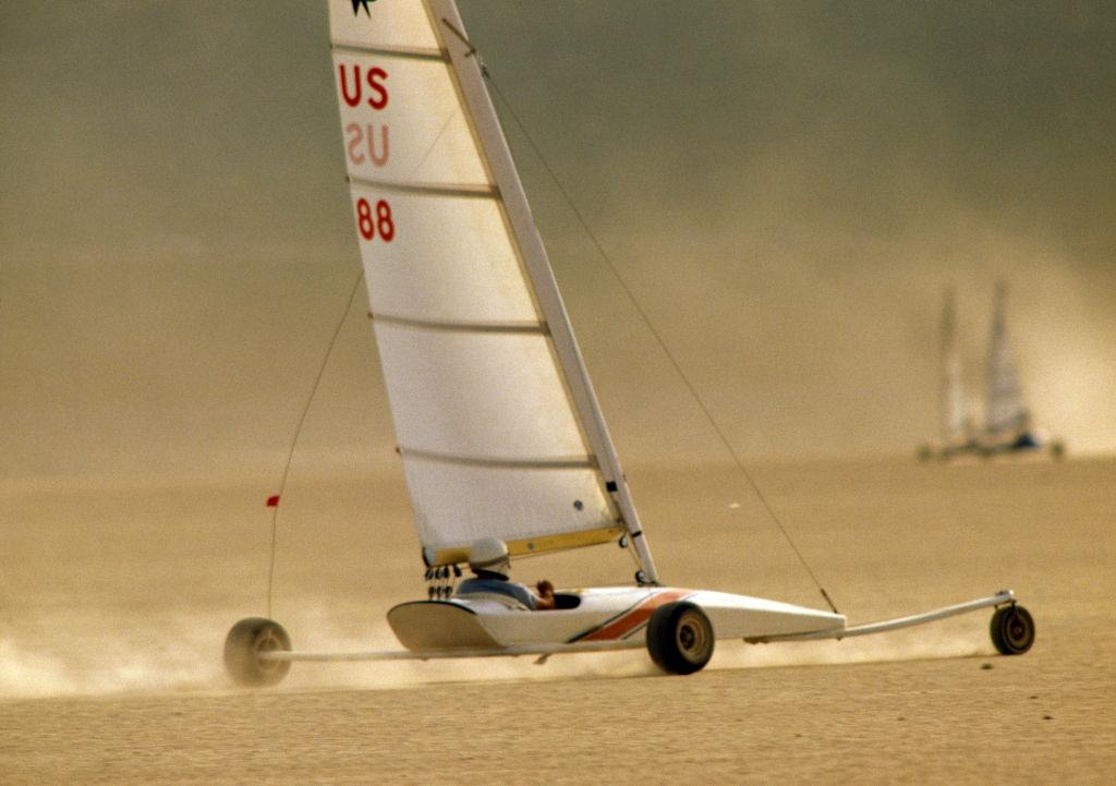 Action from the America's Landsailing Cup in the Ivanpah Lake near Las Vegas, 1985.