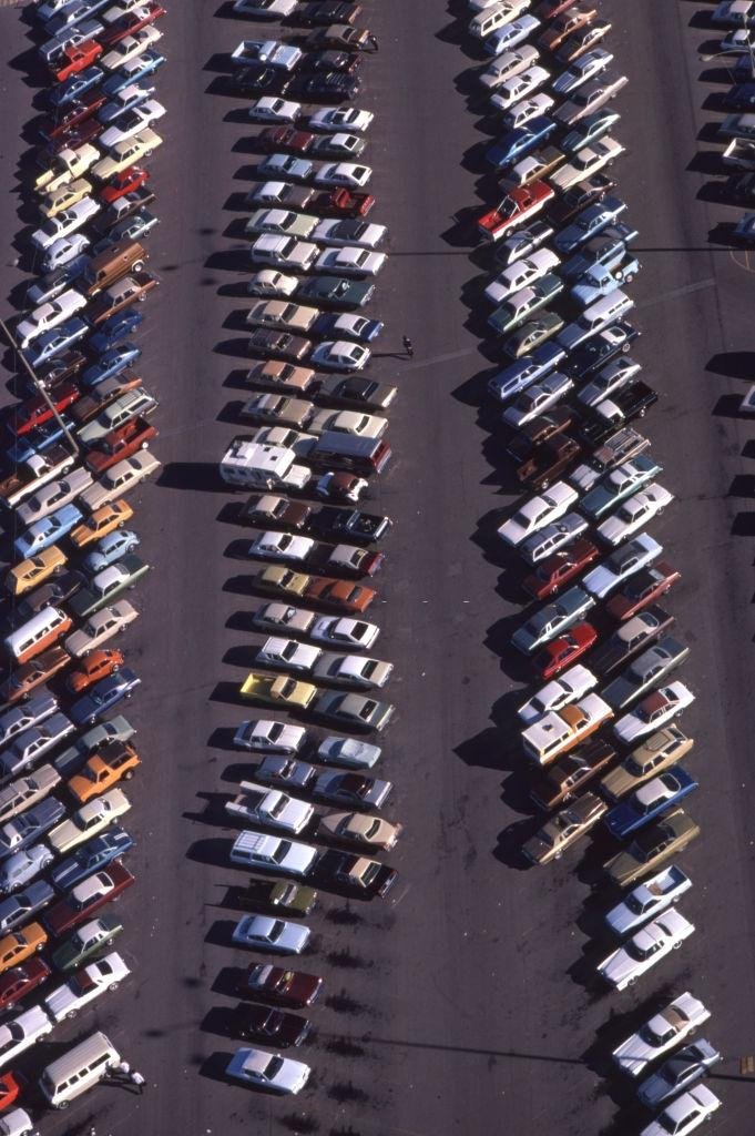 Bird's eye view of a parking lot with its vehicles in Las Vegas in 1980.
