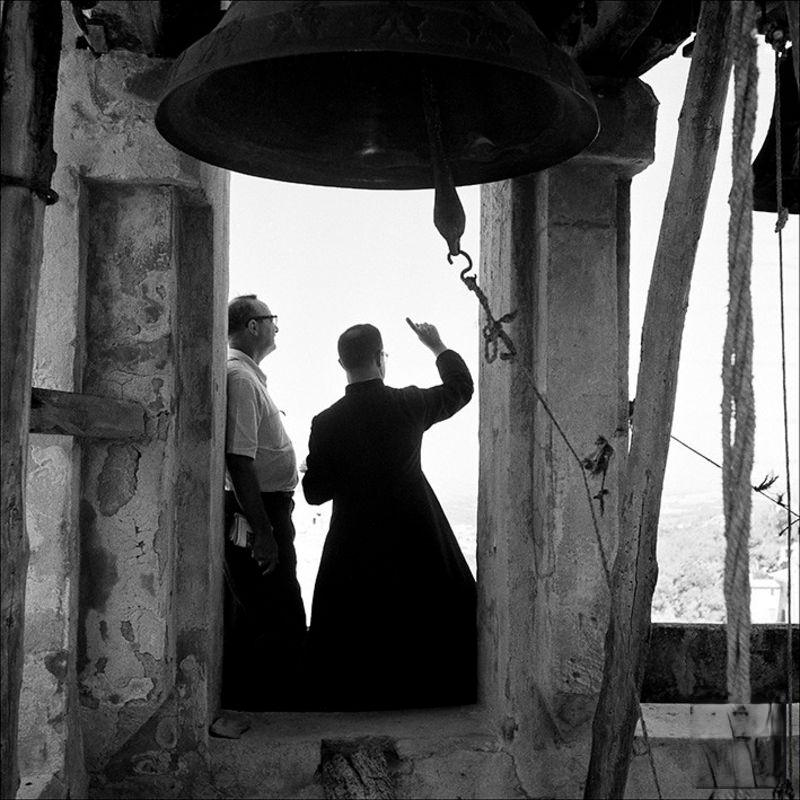 Men in the bell tower of the hermitage of Santa Magdalena, 1956